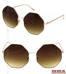 CLASSIC VINTAGE FASHION 60s RETRO Style SUNGLASSES Rare Gold Metal Octagon Frame
