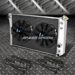 3-row Aluminum Radiator+2x 12fan Black For 82-02 Chevy S10/blazer/corvette V8