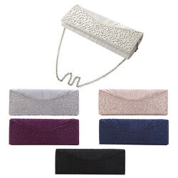Elegant Pleated Satin Floral Crystal Flap Clutch Evening Bag Diff Colors Avail $14.99