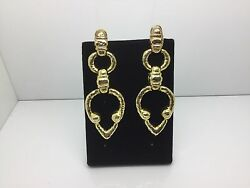 Antique Vintage 18k Yellow Gold Hammered Drop Earrings