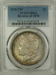 1878 7 Tail Feathers Reverse 1878 Morgan Silver Dollar Coin Pcgs Ms-63 Toned14