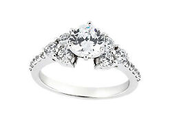 Genuine 1.25ct Round Cut Diamond Engagement Ring Cluster Accents 18k Gold G Si1
