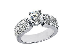 Genuine 2.50ct Round Cut Diamond 3row Bridal Engagement Ring Solid 14k Gold