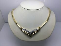 18k Yellow Gold Necklace With Pave Diamond Center Piece