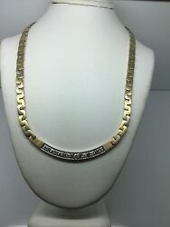 14k Yellow Gold Necklace With Curved Pave Diamond Center