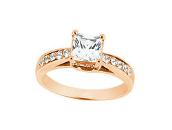 1.00ct Princess Round Cut Diamond Engagement Ring Solid 14k Gold Gh Si1