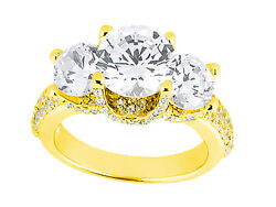 1.75ct Round Diamond 3stone Pave Engagement Ring Solid 14k Gold