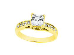 Natural 1.00ct Princess Round Cut Diamond Engagement Ring Solid 18k Gold Ij Si2