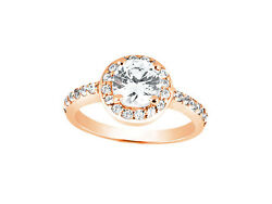 0.75ct Round Cut Diamond Halo Bridal Engagement Ring Solid 10k Gold Gh I1