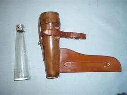 Antique Aspreyladies Leather And Glass.hallmarked Silver 1896 Fox Hunting Flask.