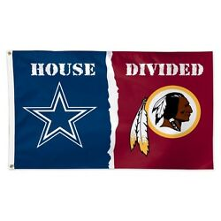 Dallas Cowboys Washington Redskins Deluxe Flag 3 X 5 House Divided