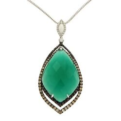 1.86 Ct Diamond 18k Gold Onyx Pendant 14k Gold Chain Necklace Size 16andraquon112