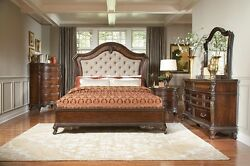Formal Traditional Warm Cherry Finish 4Pc Queen Size Bedroom Set Furniture Home