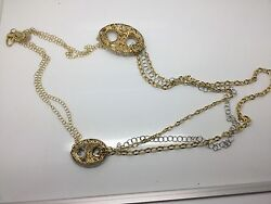 14k Yellow And White Gold Chain W/ Puff Anchor Link Accents Stunning