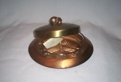 Chase Art Deco Copper Candy Dish With Brass Cover Adorned With A Fruit Handle.