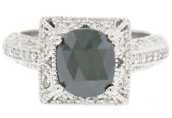 14k White Gold 2.1ctw Cushion Black And White Diamond Solitaire Engagement Ring