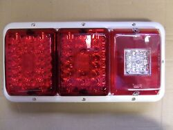 Triple Led'sbargman 84 85 Trailer Rv Tail Light Red And Red,bu White Frame All Led