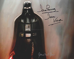 James Earl Jones And Dave Prowse Hand Signed 8x10 Photo, Star Wars Darth Vadar