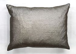Geraldine Antique Silver Sequined Throw Pillow Cashmere Back 15x20