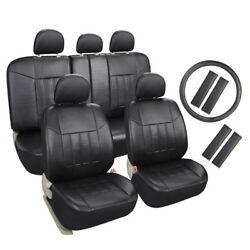 Auto Universal Fit Leather Seat Covers Set For Car Suv Trucks Black Front And Rear