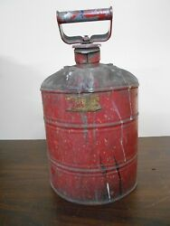 Antique Vintage 2 Gallon Gas Can With Old Red Paint
