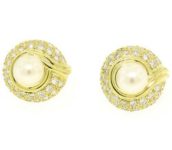 Quality 18k Solid Gold Pearl And Diamond 1.25ctw Vs E Round Button Omega Earrings