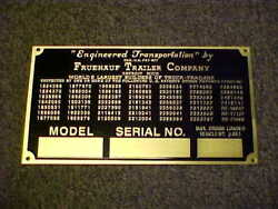 Fruehauf Trailer Data And Patent Plate 1940and039s - 1950and039s Acid Etched Brass