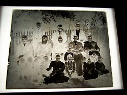 Antique Glass Photograph Negative Large Family With A Dog Outside Of House