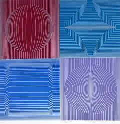 Victor Vasarely Tokyo 1982 Hand Signed Op Art Htf Limited Edition Serigraph