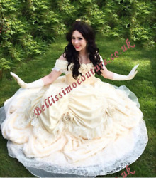 New Pale Yellow Beauty And Beast Belle Costume Adult Size 6810121416