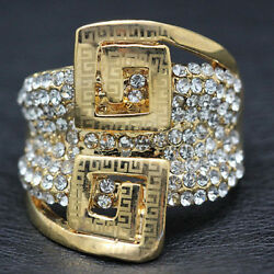 18k Gold Gp Big Ring Made W Crystal Pave Gorgeous Cocktail Bold Ring