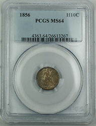 1856 Pcgs Ms-64 Seated Liberty Silver Half Dime 5c Toned Akr