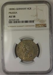 1808-g Germany 4 Groschen Silver Coin Prussia Ngc Au-58 Sc