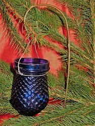 Antique Christmas Cobalt Blue Glass Candle Fairy Lamp/lantern Quilted Pattern