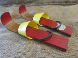 Vintage Wood And Plastic Snow Skis Childs Antique Skiing Skate Old Skating 9705