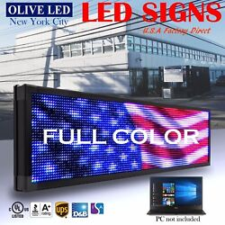 Olive Led Sign Full Color 15x53 Programmable Scrolling Message Outdoor Display