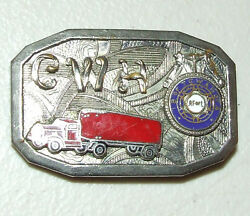 Vintage 1940and039s Teamsters I.b. Of T.c.w. Trucking Silver Union Belt Buckle Af L