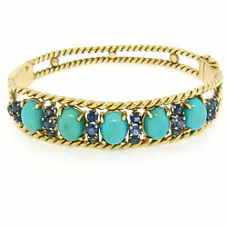 Vintage 14k Yellow Gold Sapphire And Turquoise Twisted Wire Open Bangle Bracelet