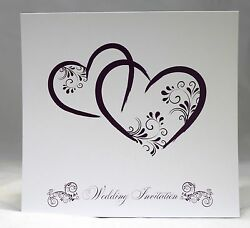 Two Hearts Wedding Invitations Personalised, Envelopes, Day/evening Any Colour