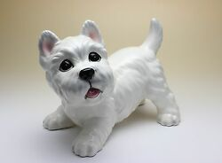 Westie Puppy West Highland White Terrier Westy Porcelain Figurine Japan NEW