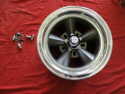 Vintage Single Polished Lip 15x7 Torque Thrust Style 5on5 And 5 1/2 Chevy Ford
