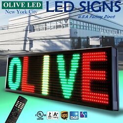 Olive Led Sign 3color Rgy 36x86 Ir Programmable Scroll. Message Display Emc