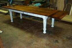 Heart Pine Harvest/dining Table Rustic Handcrafted Reclaimed Farmhouse Barn