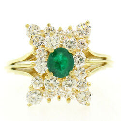 Estate 18k Yellow Gold 1.78ctw Oval Emerald And Round Diamond Pyramid Cluster Ring