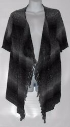 Ruby Rd Favorites Short Sleeve Open Front Fringe Ombre Cardigan Black And White M