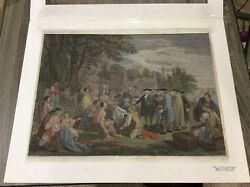 Hand Colored Engraving by J Hall William Penn's Treaty w Indians 1775 J Boydell