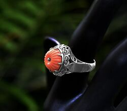 Early Chinese Export Qing Dynasty Coral Umbrella Cabochon Ring Silver Size 5 3/4