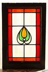 Antique Stained Glass Window Four 4 Color Art Nouveau Ruby Red Border  2999