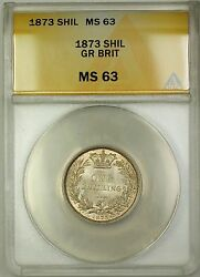 1873 Die 118 Great Britain 1s Shilling Silver Coin Anacs Ms-63