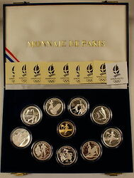 1989-1991 France Albertville And03992 Winter Olympics Gold And Silver Proof Coin Set